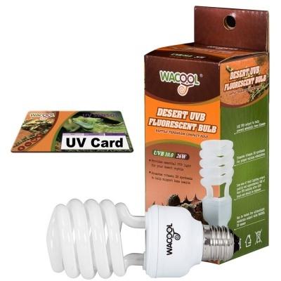 WaCool Desert UVB 10.0 26 Вт + UV card ультрафиолетовая лампа для пустынных животных с UV картой