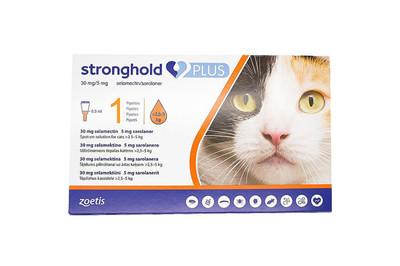 Капли на холку Zoetis Stronghold Plus 30 мг/5 мг от блох, клещей, гельминтов у кошек 2,5-5 кг 1 пип 0,5 мл